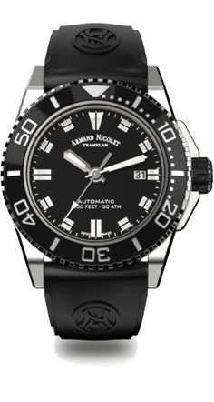 Armand Nicolet - Date Automatik - - Homme - Latest Watches, Cool Watches, Rolex Watches, Watches For Men, Date, Black Rubber Bands, Turn Blue, Black Stainless Steel, Casio Watch
