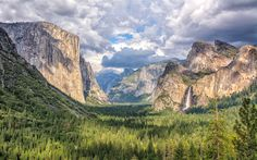 Download wallpapers Yosemite National Park, 4k, Yosemite Valley, american landmarks, clouds, forest, California, USA, America