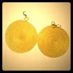African hand woven yellow circle earrings Made in Africa! Yellow handwoven circle earrings. Beautiful! Match with wooden bracelet that I'm also selling. Get both for great deal! Jewelry Earrings