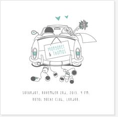 Wedding Day Cards, Letterpress Printing, Just Married, Wedding Themes, Christmas Cards, Scrapbook, Cartoon, Prints, Color