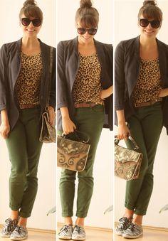Um ano sem Zara: animal prints diferentes no mesmo look - onça com calça verde militar