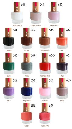 ZAO luxury natural nailpolish in LAODS of gorgeous colours.