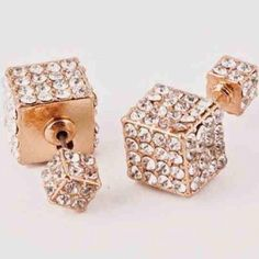 HP Rose Gold Double Cubo Earrings Vita Fede inspired Double Cubo earrings (retails in stores for 750$). Made with crystals and available in silver, gold, and rose gold. PLEASE DO NOT PURCHASE THIS LISTING. COMMENT AND I WILL MAKE A SEPARATE LISTING FOR PURCHASE. Jewelry Earrings