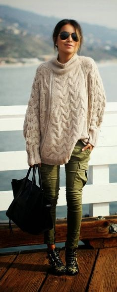 Oversized Knit Sweater , Military Skinnies Jeans Perfect Street Outfits