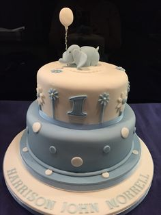 Baby boy blue naming ceremony and first birthday cake