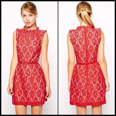 High Neck Lace Skater Dress with Belt in black or red  Item No. : Black - DP21717-2; Red - DP21717-3  Price : $39.99 (Was $52.99!)  Sizes S, M & L available.   To order today, please email us at DiePrettyClothing@gmail.com    We look forward to hearing from you!   ~ Die Pretty Clothing Co. www.facebook.com/DiePrettyClothing