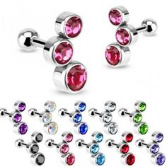 Wholesale Body Jewelry - Hollywood Body Jewelry > Body Jewelry > Cartilage & Tragus > of Surgical Steel Triple CZ Bubble Gem Set Tragus/Cartilage Piercing Stud Fake Cartilage Piercing, Nose Piercing Ring, Tragus Jewelry, Ear Piercings, Conch Jewelry, Double Cartilage, Piercing Ideas, Shopping, Earrings