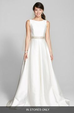 Jesús Peiró 'Martina' Embellished Waist Square Back Mikado Gown (In Stores Only) available at #Nordstrom