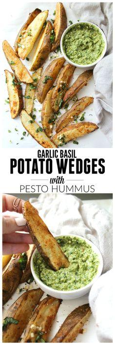 Baked Potato Wedges with Pesto Hummus   VEGAN + GF  ThisSavoryVegan.com