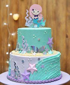 7th Birthday Cakes, Mermaid Birthday Cakes, Girl Birthday, Little Mermaid Cakes, Little Cakes, Bolo Chanel, Mermaid Parties, Small Cake, Girl Cakes