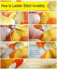 ladder stitch tutorial  - Is a great way to stitch closed stuffies! via patchwork posse