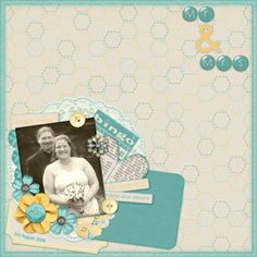 """Photo is from my wedding, seven years ago! With the help of digital scrapping I am finally getting some of those photos scrapped!   I used a kit called """"New Beginnings"""" by Shel Belle Scraps from Scraps N Pieces.  You can find out more on my blog."""