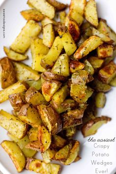 Easiest Crispy Potato Wedges Ever... these are addictive, delicious and only take a few minutes of active prep