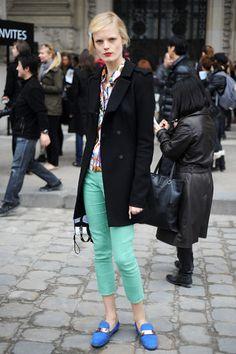 mint green cropped pants