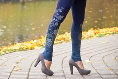 Leggings; blue, simple, delicate and un overbearing design.   Hey, I found this really awesome Etsy listing at https://www.etsy.com/listing/103373688/autumn-morning-navy-blue-leggings-with