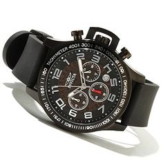 Invicta Mens Specialty Quartz Chronograph Stainless Steel Polyurethane Strap Watch