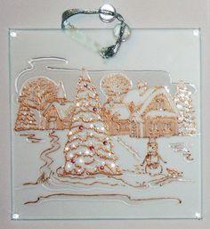 Christmas glass pendant, glass art, painted glass, сhristmas decor, painting on glass