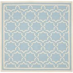 @Overstock - Morrocan inspired design and dense hand-woven wool pile highlight this handmade dhurrie rug. This floor rug has a light blue background and displays stunning panel colors of ivory. http://www.overstock.com/Home-Garden/Moroccan-Light-Blue-Ivory-Dhurrie-Wool-Rug-8-Square/6128507/product.html?CID=214117 $232.04