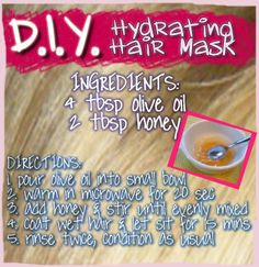 http://lifeofblyss.com - EASY DIY hair hydrating mask.  olive oil & honey - takes 15 mins