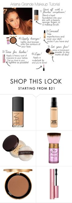 """Ariana Grande Makeup Tutorial"" by jacque-luna ❤ liked on Polyvore featuring beauty, NARS Cosmetics, MAC Cosmetics, Laura Mercier and Too Faced Cosmetics"
