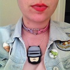 Robyn with acrylic perspex laser cut Robocop necklace