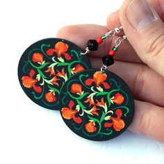 Items similar to Red Flowers Round decoupage jewelry Red Orange Green valentines day, gift for her under 25 on Etsy Diy Decoupage Earrings, Red Flowers, Quilling, Gifts For Her, Valentines Day, Coin Purse, Bling, Pendant Necklace, Jewels