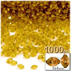 Plastic beads, Rondelle Transparent, 6x4mm, 1000-pc, Sun Yellow