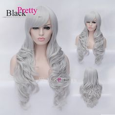 Party Hair Cosplay Long Gray Wig Long Gray Wig Synthetic Hair Gray Wavy Cosplay Wig With Bangs Gray Party Wig,High Quality cosplay pink wig,China cosplay wig blonde Suppliers, Cheap cosplay panties from Black Pretty Hair