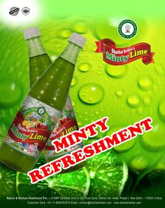 Minty Refreshment with sharbat rehan's minty lime for more information contact us at 9811487867