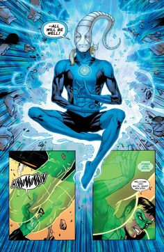 Green Lantern Hal Jordan has his power boosted by Blue Lantern of Hope Saint Walker Comic Book Characters, Comic Books, Blue Lantern Corps, Green Lantern Hal Jordan, Dc Comics Art, Batman, Dc Heroes, Marvel Dc Comics, Comic Art