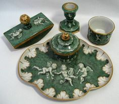 VINTAGE DRESDEN PORCELAIN MUSICAL CHERUBS FOUR PIECE DESK INK WELL SET