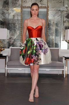 Cocktail dress made of lavender Tuscan garden silk mikado, features a corset bodice, spaghetti straps and a pleated bell shaped skirt. Romona Keveza Luxe Collection, Fall 2016
