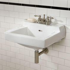 "Prescott Wall Mount Sink - 4"" Centerset Faucet Hole Drillings - White"