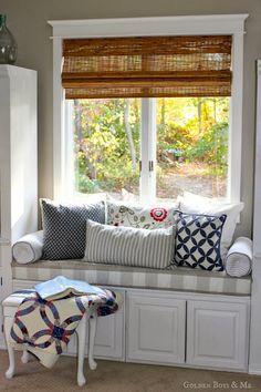 window seat with no sew buffalo check fabric in master bedroom via www.goldenboysandme.com