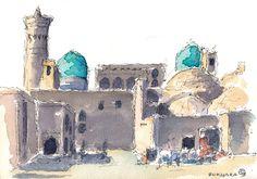 Bukhara, Uzbekistan. Watercolours by Ole Sondergaard