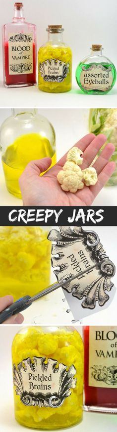 Creepy Halloween Apothecary Jars Craft and Free Printable!