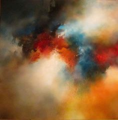 """Large Mixed Media Abstract Painting"""" Dreamscape"""" via Etsy.  -   Maybe a wash of similar colors with a couple of color pops such as in this painting."""