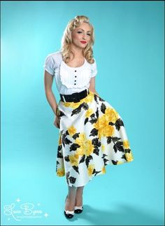 Beautiful flower skirt. Skip the hair shoes and shirt