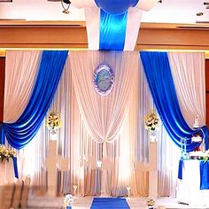 high long white and royal blue wedding stage party backdrop decoration drapes with ice silk Royal Blue Wedding Decorations, Wedding Centerpieces, Blue Centerpieces, Satin Curtains, Blue Curtains, Diy Curtains, Party Kulissen, Wedding Reception Backdrop, Wedding Backdrops