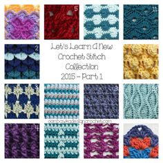 Let's Learn a New Crochet Stitch Collection 2015 Part 1 (14 stitch tutorials) @OombawkaDesign