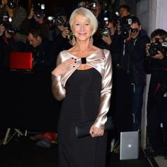 Dame Helen Mirren named Hasty Pudding Woman of the Year. Jan. 2014. Here in a great gown...long shimmering sleeves, and a bit of cut out styling so trendy at the moment. Modest, classy, still up to date!