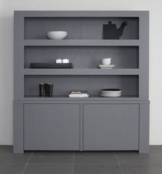 Grey cabinet - House of Mayflower Living Room Shelves, Home Living Room, Bookcase Storage, Shelving, Beautiful Closets, Wooden Cabinets, Scandinavian Home, Furniture Decor, Interior Inspiration