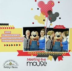 layout by Kathy Skou from Doodlebug Design using lots of Doodlebug sequins as confetti - love the Sprinkles vellum Mickey balloons too :) Vacation Scrapbook, Disney Scrapbook Pages, Scrapbook Sketches, Scrapbook Page Layouts, Scrapbook Cards, Scrapbooking Ideas, Scrapbook Storage, Disney Crafts, Disney Trips