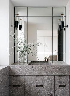 An elegant modern bathroom features a grey stone vanity. Australian Interior Design, Interior Design Awards, Natural Stone Bathroom, Bathroom Renovation Cost, Designer Bar Stools, Arts And Crafts House, Minimalist Interior, Minimalist Design, Bathroom Colors