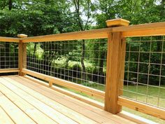 "A Cost Conscious ""see Through"" Deck Railing Made With Livestock, Patio Cattle Fe. Wire Deck Railing, Deck Railing Design, Deck Design, Home Design, Patio Handrail Ideas, Railings For Decks, Cattle Panels, Cattle Panel Fence, Hog Panel Fencing"