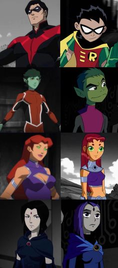 Teen Titans. Robin. Nightwing. Starfire. Raven. Beast Boy.