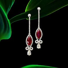 Avakian. An exquisite pair of Marquise Burmese Ruby Earrings set with a…