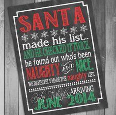 Christmas Pregnancy Announcement Holiday Pregnancy Announcement Expecting Announcement Naughty or Nice Chalkboard Christmas