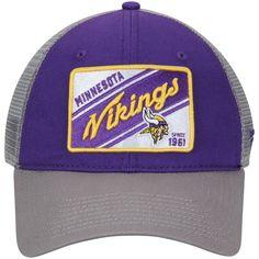 Men s Minnesota Vikings NFL Pro Line by Fanatics Branded Purple Gray Road  Trip Trucker Adjustable Snapback Hat 3207a4ac9253