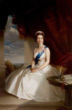 Queen Elizabeth II (b.1926) by John Townsend ~ Date painted: 1970